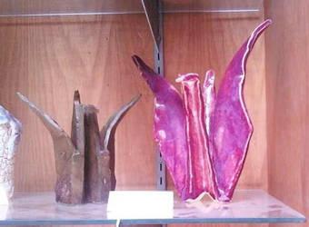 Bronze and Ceramic Cranes by wakethefallen13