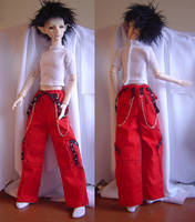 BJD  Red and Black Cargo Pants by AmethystArmor