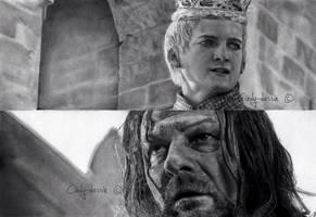 Joffrey BARATHEON, Eddard STARK from GoT by cindy-drawings