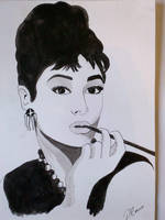 Audrey Hepburn in Ink by DavidMunroeArt