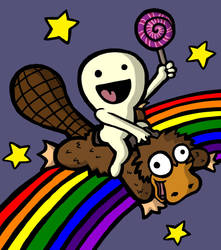 Rainbow Platypus Lollipop by KeydarDLC