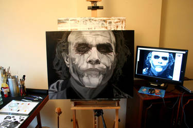 Heath Ledger WIP Underpainting by livo2007