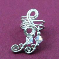 Silver and Crystal Ear Cuff by Gailavira