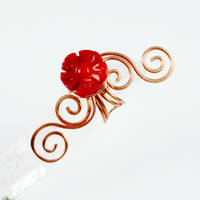 Swirly Copper and Coral Flower Ear Cuff by Gailavira