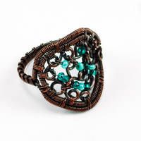 Copper and Mint Beaded Scroll Ring by Gailavira