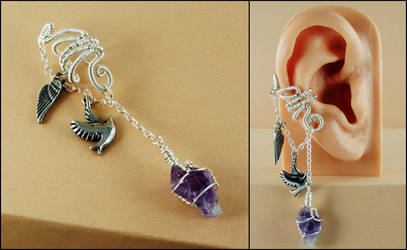 Silver, Amethyst, Angel Wing and Dove Ear Cuff by Gailavira