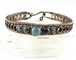Blue Aventurine and Copper Chain Weave Bracelet by Gailavira