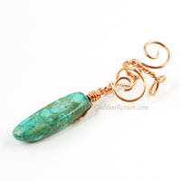 Copper and Turquoise Magnesite Ear Cuff by Gailavira