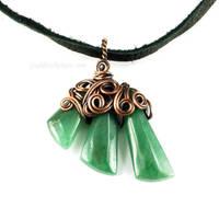 Green Aventurine and Copper Swirls Necklace by Gailavira
