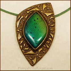 Polymer Clay Faux Dichroic Glass Necklace by Gailavira