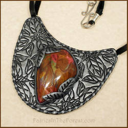 Polymer Clay Silver and Faux Stone Necklace by Gailavira