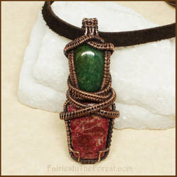 Thulite, African Jade and Copper Necklace by Gailavira