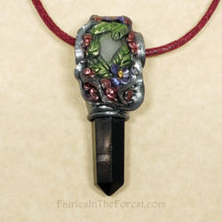 Polymer Clay and Blackstone Crystal Point Necklace by Gailavira
