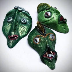Polymer Clay Alien Faces by Gailavira
