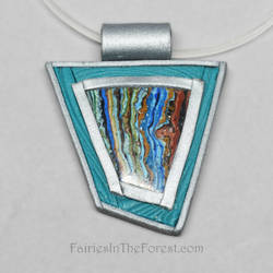 Polymer Clay and Rainbow Calsilica Pendant by Gailavira