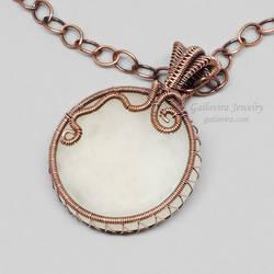 Copper Wire Wrapped Snow Quartz Necklace by Gailavira