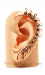 Copper and Hematite Spiked Ear Wrap by Gailavira