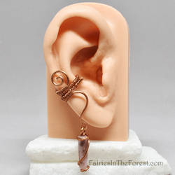 Copper and Rhodonite Crystal Point Ear Cuff by Gailavira