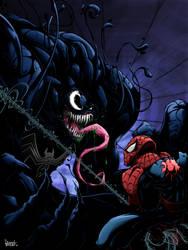 venom vs spiderman by pnutink