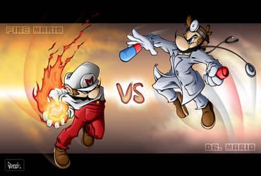 fire mario vs dr mario by pnutink