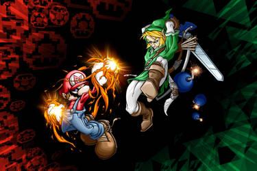 Mario vs Link by pnutink