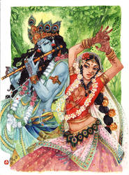 Krishna and Radha by Alice-Bobbaji