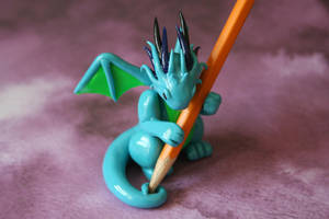 Turquoise and Lime Green Dragon Pencil Holder by redninjacreations