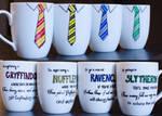 Hogwarts House Tie Mugs by redninjacreations