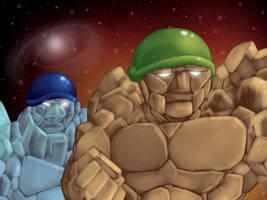 Rock Soldiers Practice Painting by PowderAkaCaseyJones