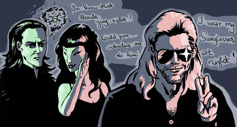 Loki and Thor in da club by Scharach
