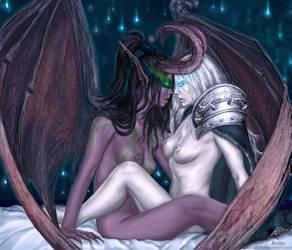Illidana and Arthasa by anawind
