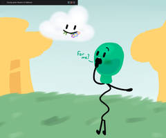 Cloudy Gives Flowers to Balloony by Olivia091220034