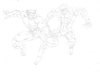 Beast vs Sabretooth by darkclaw1303