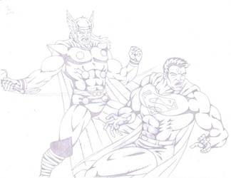Thor Vs Superman by darkclaw1303