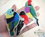 Embroidered Bird Brooches by My--Little--Garden