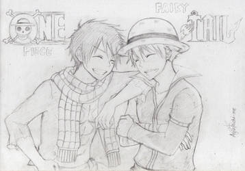 One Piece x Fairy Tail crossover sketch by AyuMichi-me