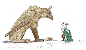 Creature and Ryask by Ryaskgoldengryph