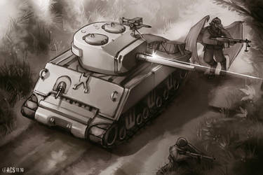 Sherman Tank Fire Support by Shimmering-Sword
