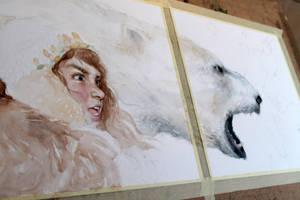 Lyra and Iorek Byrnison (work in progress) by ALEXAst
