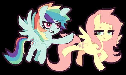 MLP FiM : Rainbow Dash and Fluttershy by nekozneko