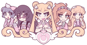 Pastel Sailor Moon cuties by nekozneko