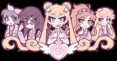 Pastel Sailor Moon cuties by nekozneko