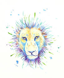 Watercolor Lion Face by daanzi