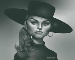 Hatgirl black and white by Kravenous