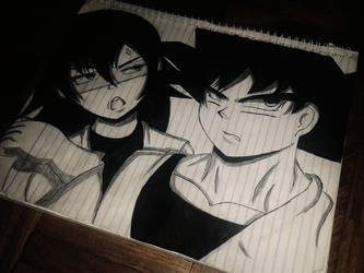 DBZ fanart Okami(OC) and Goku by KurunomiBreaK