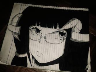 Anime Black Goat girl Sketch by KurunomiBreaK