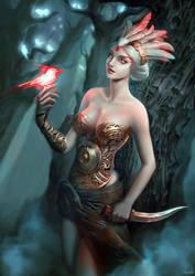Red bird by Durmasha