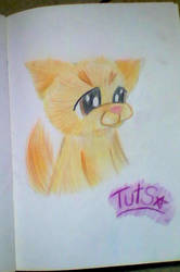 Tuts The Cat Pencil Drawing by Bubblegumartt