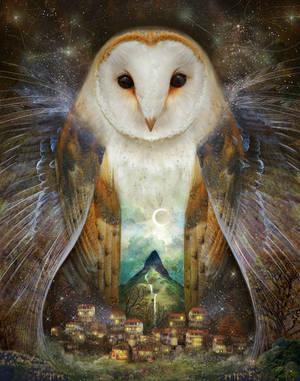 Owl, Mountain, Moon by meluseena