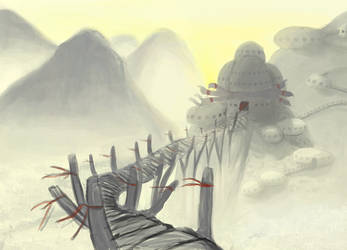 Temple on misty mountain by Silverpaperplate